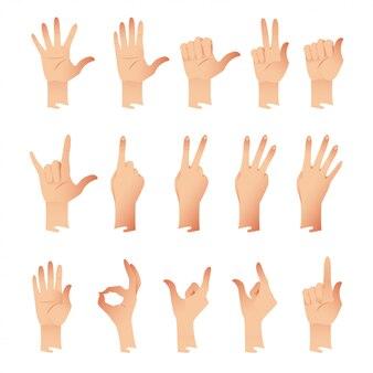 白い背景のさまざまなジェスチャーの感情で手のセット