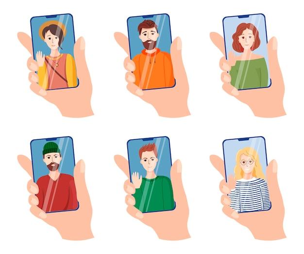 手のセットがスマートフォンの画面に触れます。友人のビデオ通話のトピックに関するイラスト、アイコンの大きなセット。スマートフォンの画面上の若い女の子と男性。フラットスタイルのトレンディなフルカラーアイコン。ハ