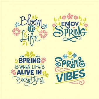 春シーズンについての手書きの心に強く訴える引用のセット