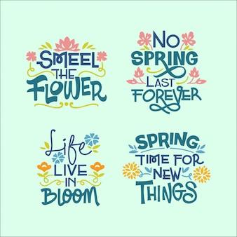春シーズンについての手書きの心に強く訴える引用のセット Premiumベクター