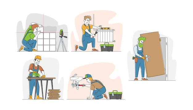便利屋サービス作品のセット、ドアをインストールする男性キャラクター