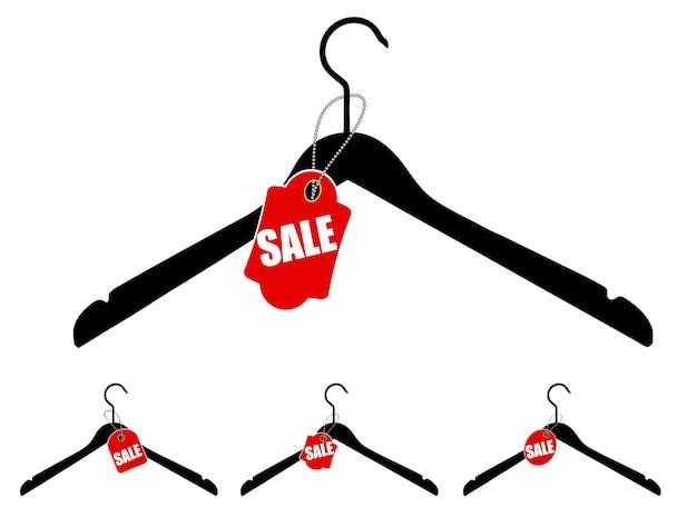 Набор вешалок с биркой продажи. векторная иллюстрация