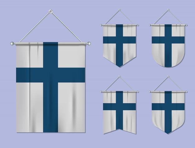 Набор подвесных флагов финляндии с текстильной текстурой. разнообразие форм национального флага страны. вертикальный шаблон вымпела