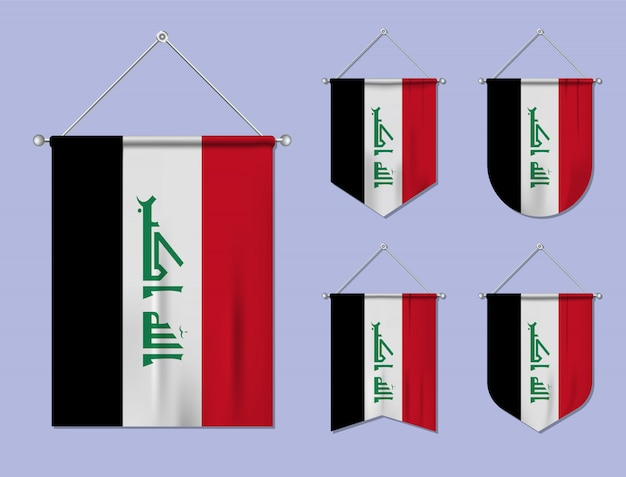 掛かる旗の繊維質のイラクのセットです。国旗の国の多様性の形。縦型テンプレートペナント