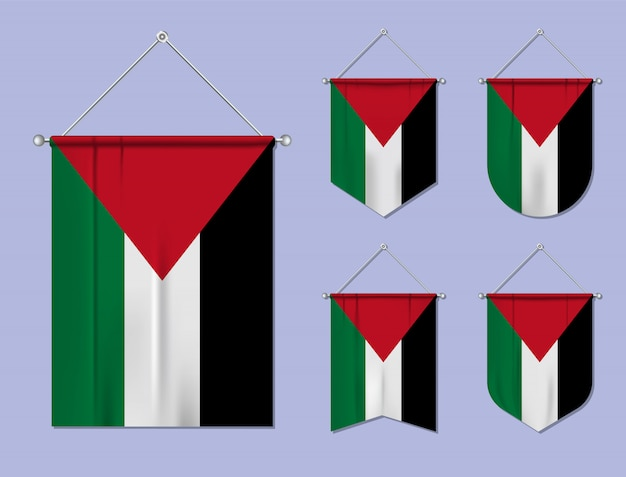 掛かる旗の織物テクスチャとパレスチナのセットです。国旗の国の多様性の形。垂直テンプレートペナント。