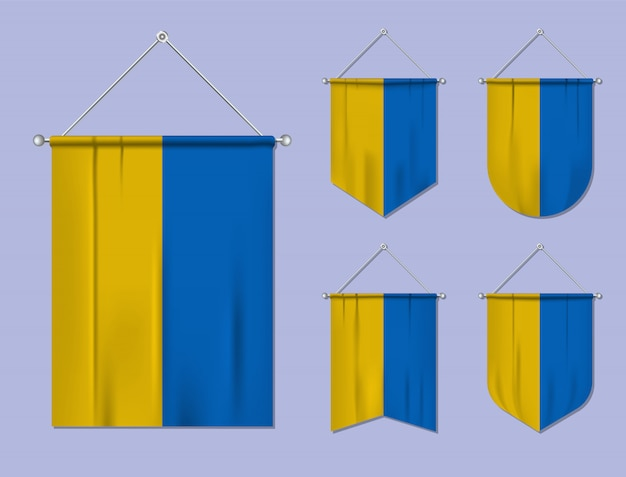 Набор подвесных флагов украины с текстильной текстурой. разнообразие форм национального флага страны. вертикальный шаблон вымпела.