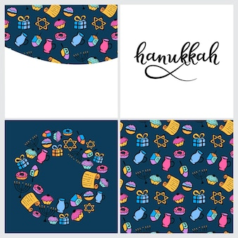 Набор элементов дизайна хануки в стиле каракули. традиционные атрибуты меноры, дрейдела, масла, торы, пончика. круглая рамка, бесшовные модели, ручная надпись