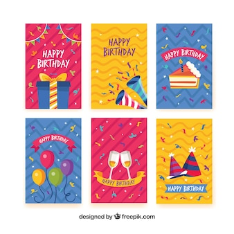 Set of happy birthday cards in flat style