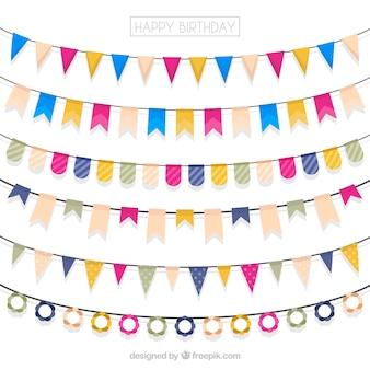 幸せな誕生日カラフルな花輪のセット
