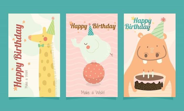 아이들을위한 생일 축 하 귀여운 동물 카드 세트.