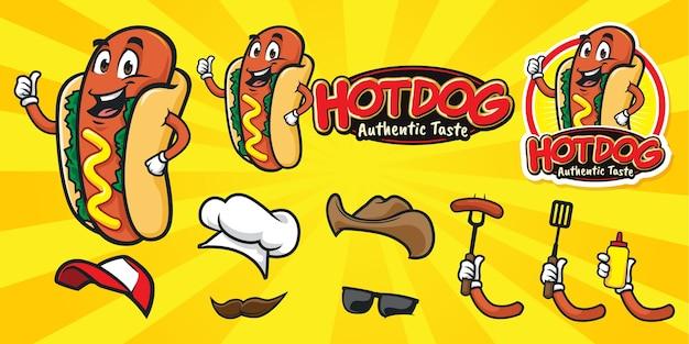 幸せな漫画ホットドッグロゴのセット