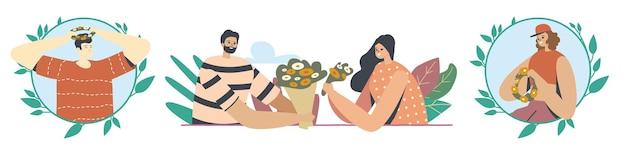 Набор счастливых персонажей, плетущих венки из красивых цветов и трав на зеленом лугу летом. молодые люди провели время на свежем воздухе, летний сезонный фестиваль, романтика. векторные иллюстрации шаржа