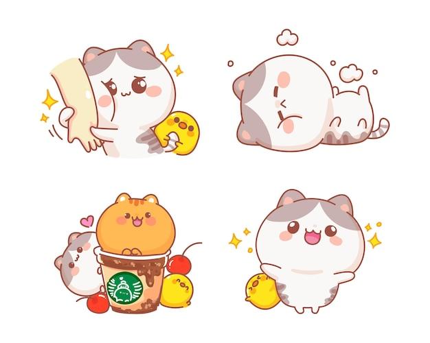 幸せなかわいい猫の漫画イラストのセット