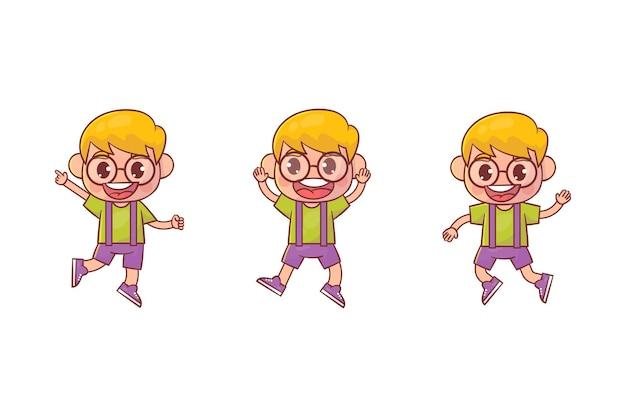 행복 한 귀여운 꼬마 소년 점프와 미소 세트 프리미엄 벡터