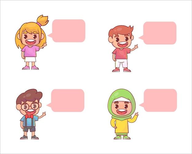 행복 한 귀여운 꼬마 소녀와 소년 풍선 대화 세트