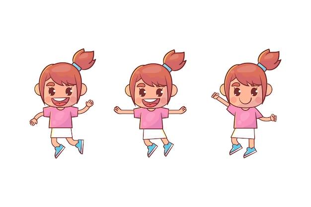 행복 한 귀여운 꼬마 소녀 점프와 미소 세트