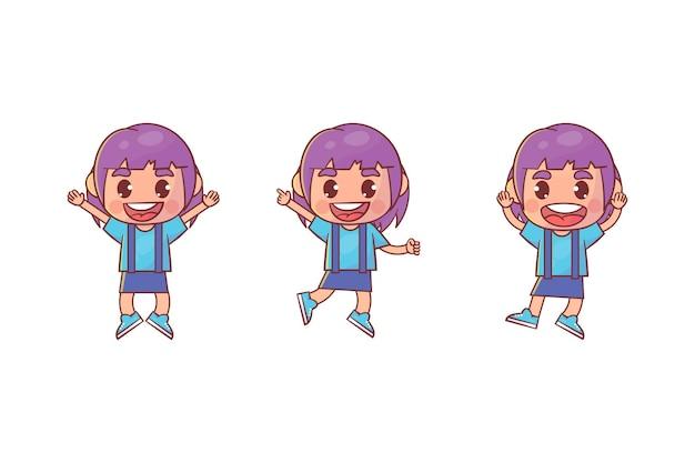 행복 한 귀여운 꼬마 소녀 점프와 미소 세트 프리미엄 벡터