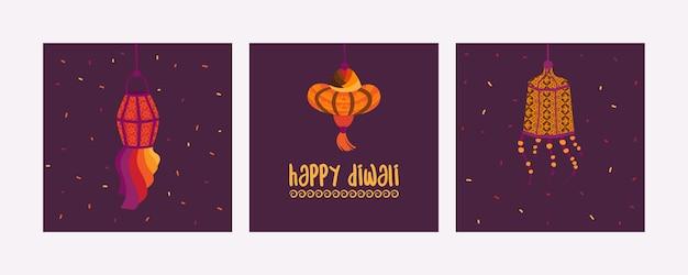ハッピーディワリカードのセットインドの光の祭典手描きのホリデーキャンドルとライト