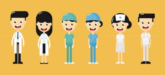 幸せな医師、看護師、医療スタッフのキャラクターのセット。黄色の背景に分離された医療チームコンセプト。
