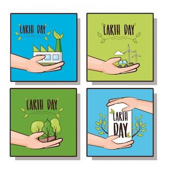 幸せな地球のかわいい、植物と地球の日のアイコン、イラストと手のセット