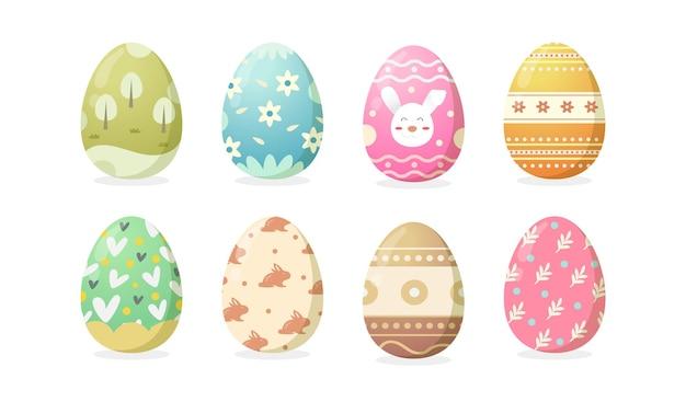 Набор счастливых пасхальных яиц с различной текстурой или рисунком на белом фоне. милые яйца на весенний праздник.