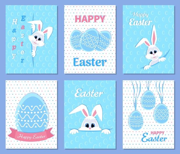 Набор счастливых пасхальных открыток и пригласительных билетов. белый милый пасхальный заяц выглядывает из отверстия, ленты, яйца, надпись в середине. идеально подходит для подарков и подарков. иллюстрации.