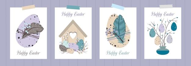 Набор поздравительных открыток счастливой пасхи. пасхальные яйца, скворечник, веточки, перья.