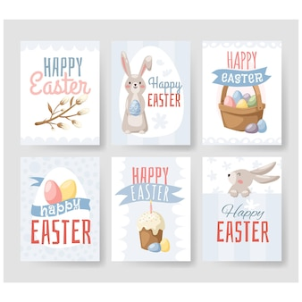 행복 한 부활절 인사말 카드 세트