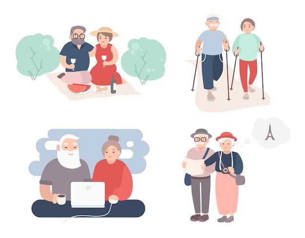 행복 한 노인 커플의 집합입니다. 다른 상황에서 조부모 컬렉션입니다. 노인의 활동적인 라이프 스타일. 만화 스타일의 다채로운 벡터 일러스트 레이 션.