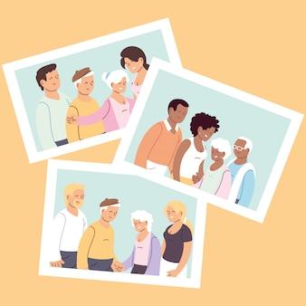 Набор счастливых семей, внучка, внук и бабушка с дедушкой