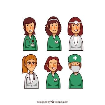 幸せな女性医師のセット