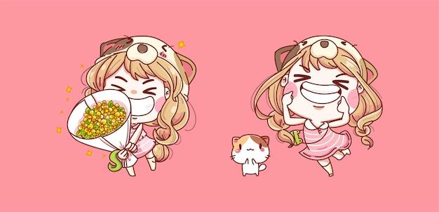 花と笑顔を保持している幸せな女の子のセット