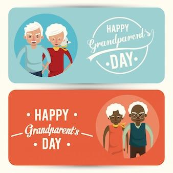 만화와 함께 행복 한 조부모의 날 카드 세트
