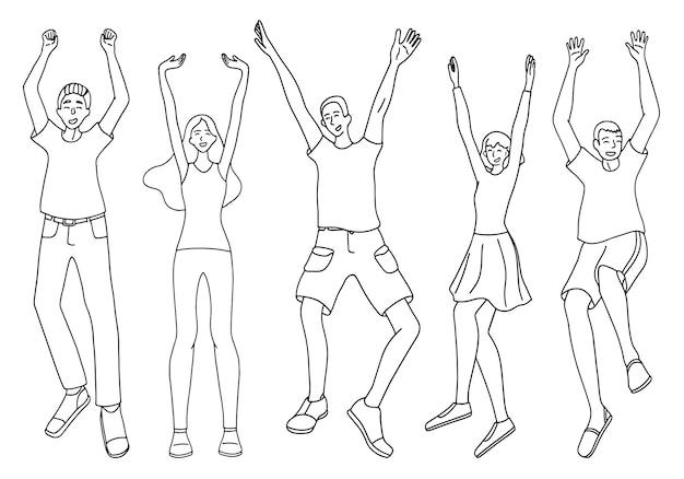 幸せで楽しい人々のセット。勝利、運、良い気分のコンセプト。白で隔離の完全な成長の女性と男性の輪郭図。手描きのベクターイラスト集。