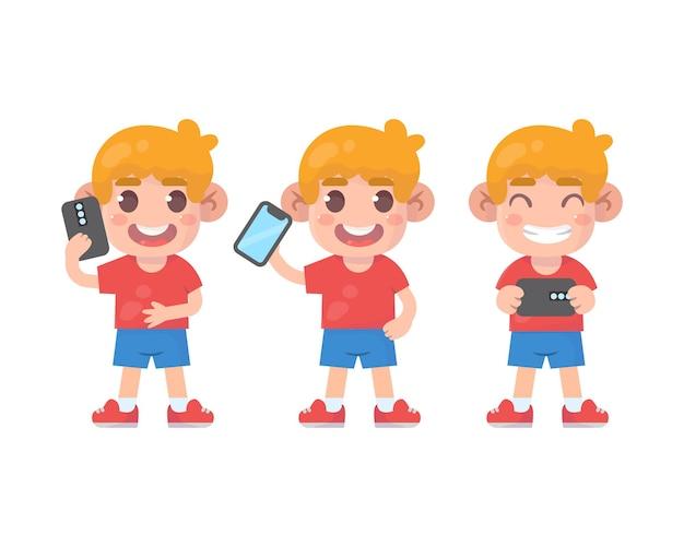 많은 제스처 표정을 가진 행복한 아이들의 귀여운 소년 캐릭터와 스마트폰 세트