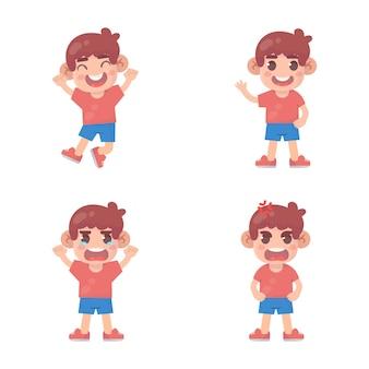 많은 제스처 표정으로 행복 한 아이 귀여운 소년 캐릭터 세트