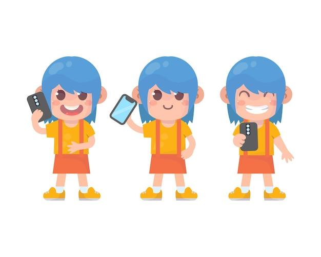 많은 제스처 표정을 가진 행복한 아이들의 귀여운 소녀 캐릭터와 스마트폰 세트