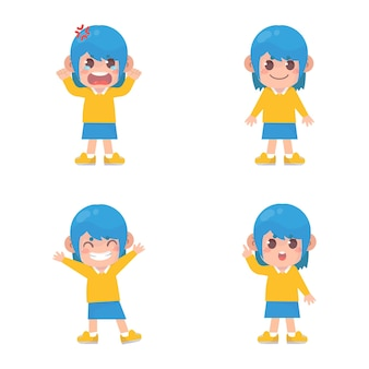 많은 제스처 표정으로 행복 한 아이 귀여운 소녀 캐릭터 세트