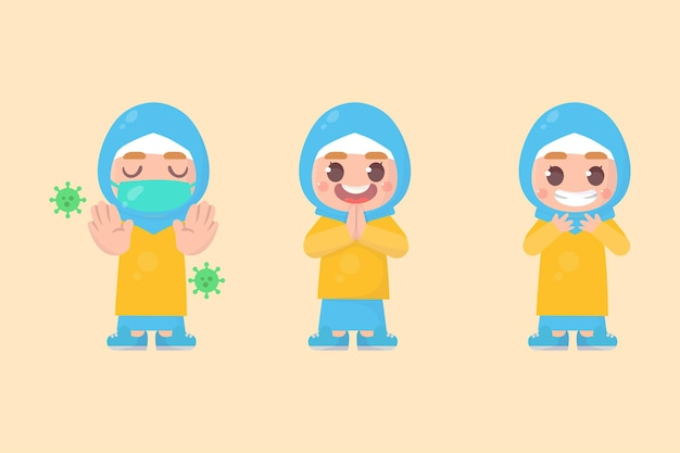 많은 제스처 표정으로 행복 한 아이 귀여운 히잡 소녀 캐릭터 세트