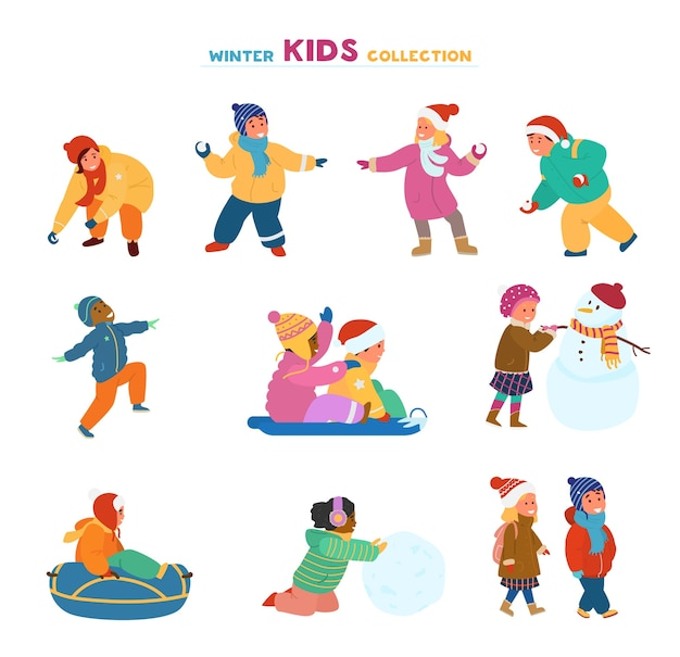 Набор счастливых детей, играющих зимой на открытом воздухе.