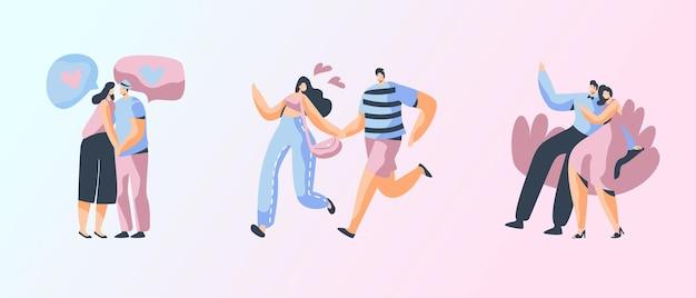 幸せな愛情のあるカップルのスペアタイムのセット。陽気な男性と女性のキャラクターは、楽しいデートを楽しんで抱き締めて一緒に時間を過ごします。愛と人間関係、一体感漫画フラットベクトルイラスト