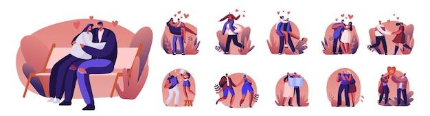幸せな愛情のあるカップルのスペアタイムのセット。陽気な男性は女性を手に持っています。キャラクターは一緒に時間を過ごし、心を込めて喜びます。愛の関係、一体感。漫画の人々のベクトル図