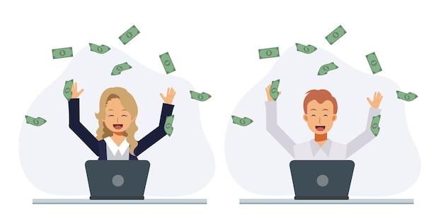 Набор счастливый мужчина и счастливая женщина зарабатывают много денег в интернете. выиграть приз, получить денежную концепцию. плоский вектор 2d мультипликационный персонаж иллюстрации.