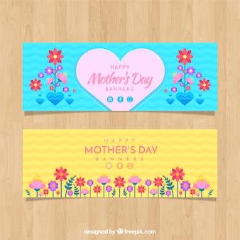 幸せな母親の日の花のバナーのセット