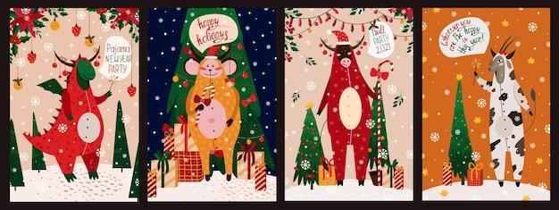 雄牛、山羊、猿、ドラゴンと幸せな新年のイラストカードのセット