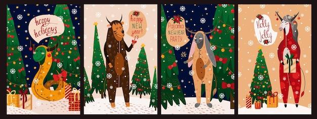 バニー、ヘビ、馬、虎と幸せな新年のイラストカードのセット