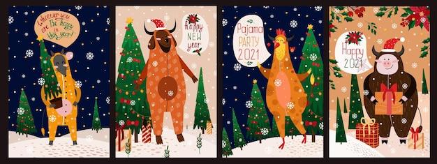 犬、オンドリ、豚、ラット、幸せな新年のイラストカードのセット