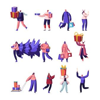 Набор счастливых людей несут подарочные коробки и елку в руках и санях. мультфильм плоский иллюстрация