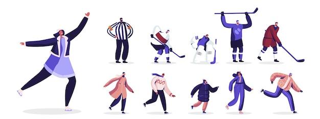 따뜻한 옷을 입고 스케이팅을 하는 행복한 사람들, 유니폼을 입은 하키 선수들. 아이스 링크, 남성과 여성 흰색 배경에 고립에 남성과 여성 캐릭터 스케이팅. 만화 삽화