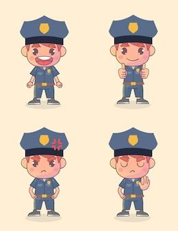 많은 제스처 표현으로 행복한 경찰 캐릭터 세트